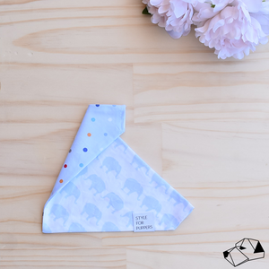 """ELEPHANT WALK"" (Blue) - Reversible Dog bandana"