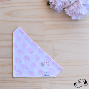 """ELEPHANT WALK"" (Pink) - Reversible Dog bandana"