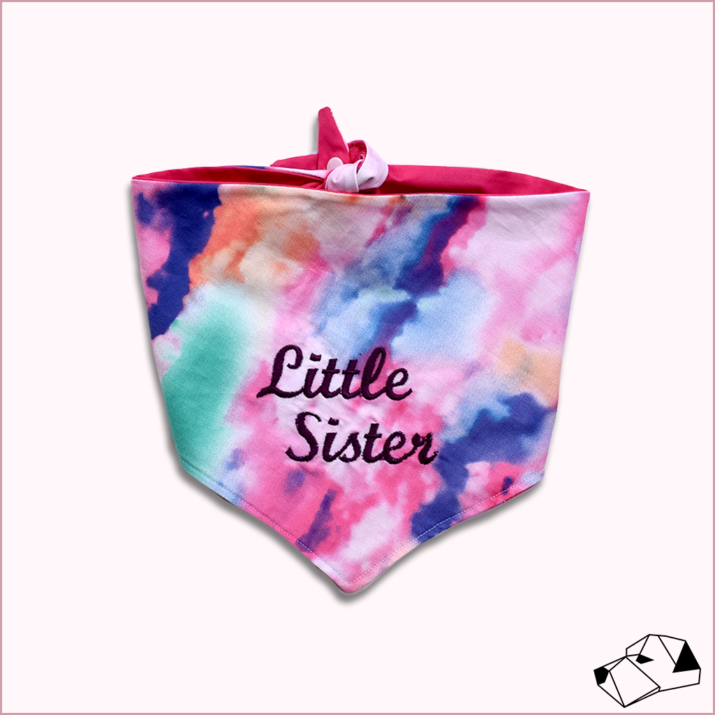 """BIG/LITTLE SISTER"" - Tie-Up/Snap Dog Bandana"