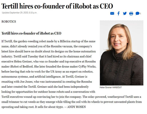Boston Globe article on Helen Greiner as new CEO of Tertill