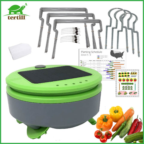 Tertill the weeding robot with row guards and plant guards for the home garden.