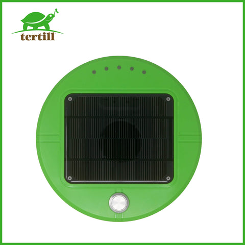 Tertill the weeding robot's top solar panel.
