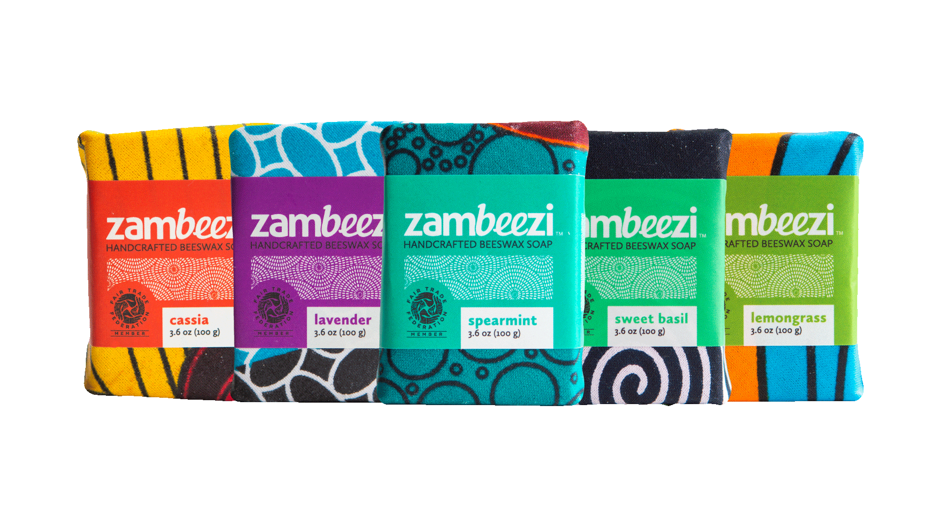 Zambeezi Handcrafted Beeswax Soap - Six All Natural, Ethical, Fair Trade soap bars made by hand in Zambia, Africa