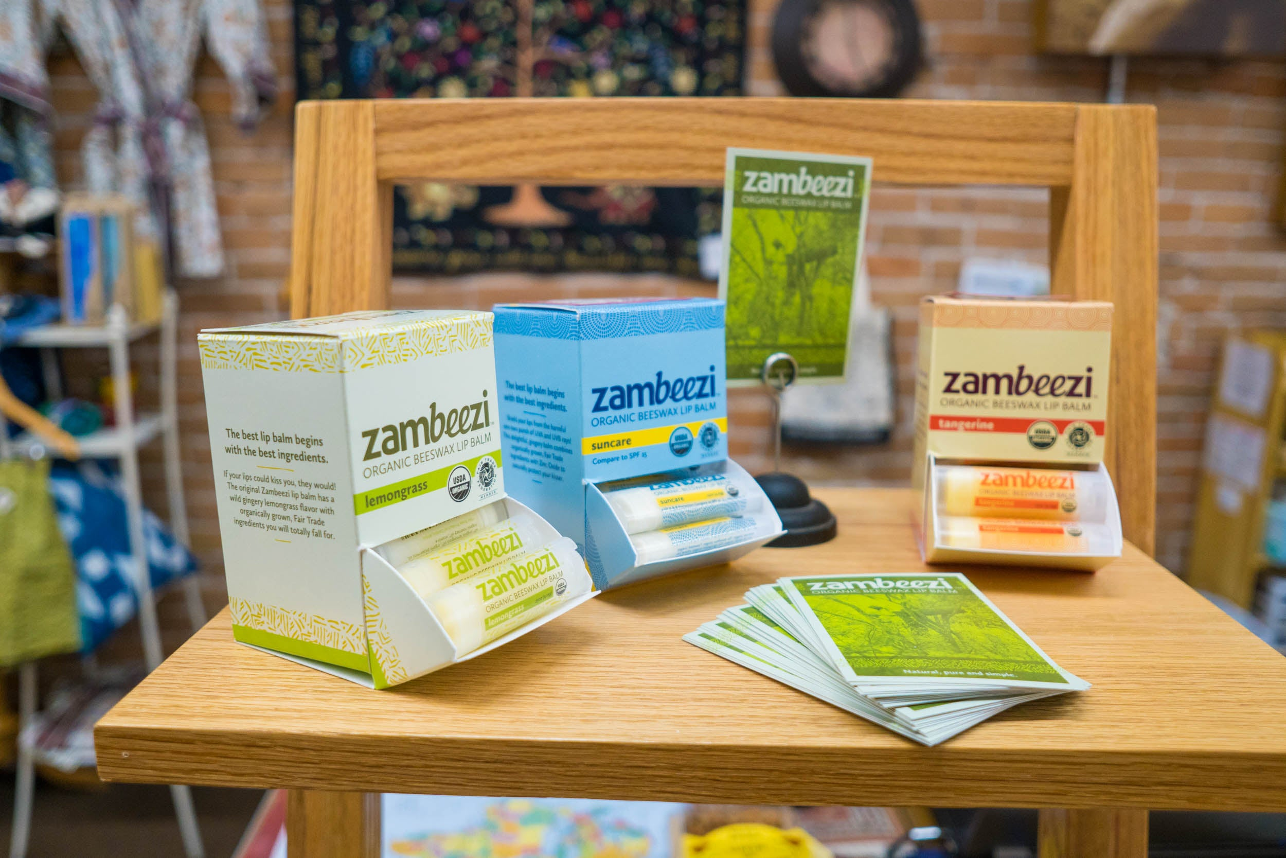 Find the best ethical chapstick at a store near you - Zambeezi Organic, Fair Trade beeswax lip balm