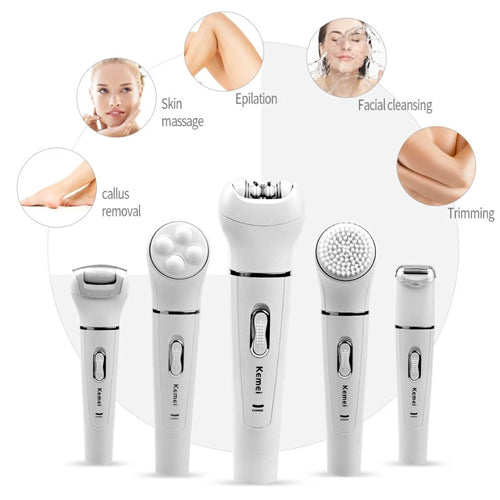 KEMEI 5 in 1 KIT FACIAL CLEANSER BODY CLEANING BEAUTY MASSAGER KM-2199 - cliqoshop