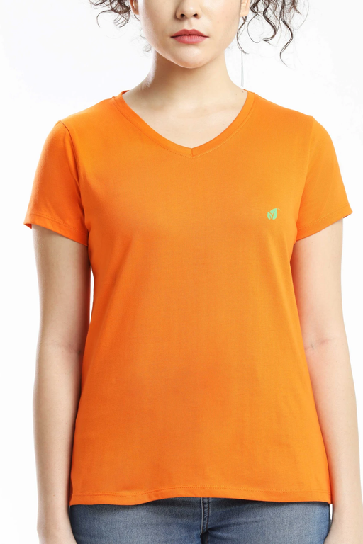 PIMA COTTON WOMEN T SHIRT - ORANGE sustainme - cliqoshop