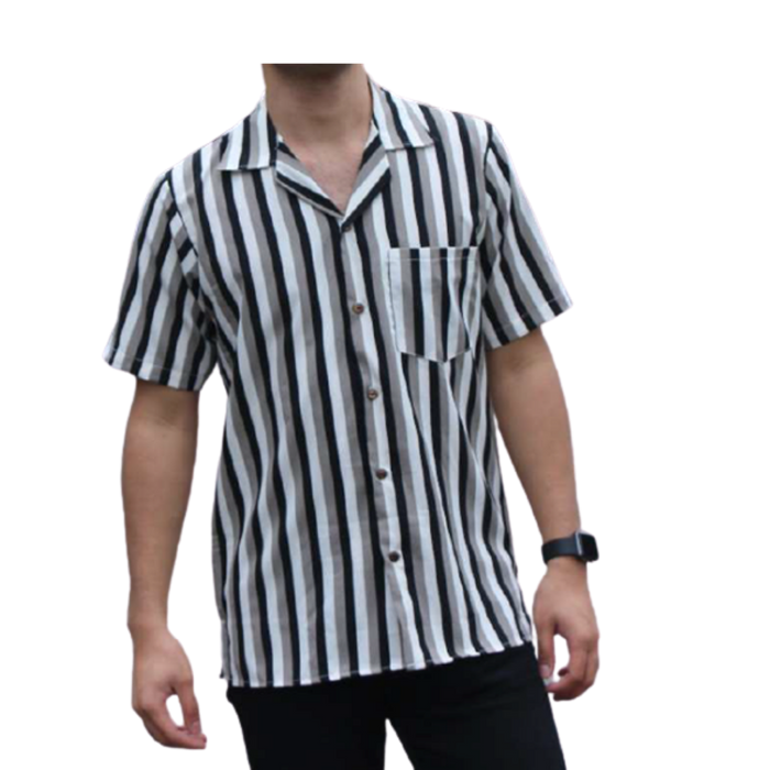 cliqoshop summer beach polo v neck stripes black grey white