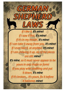 German Shephard Laws Sign