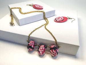 Rose Drop Necklace set