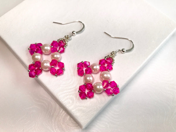 Elegant Cross Beaded Earrings