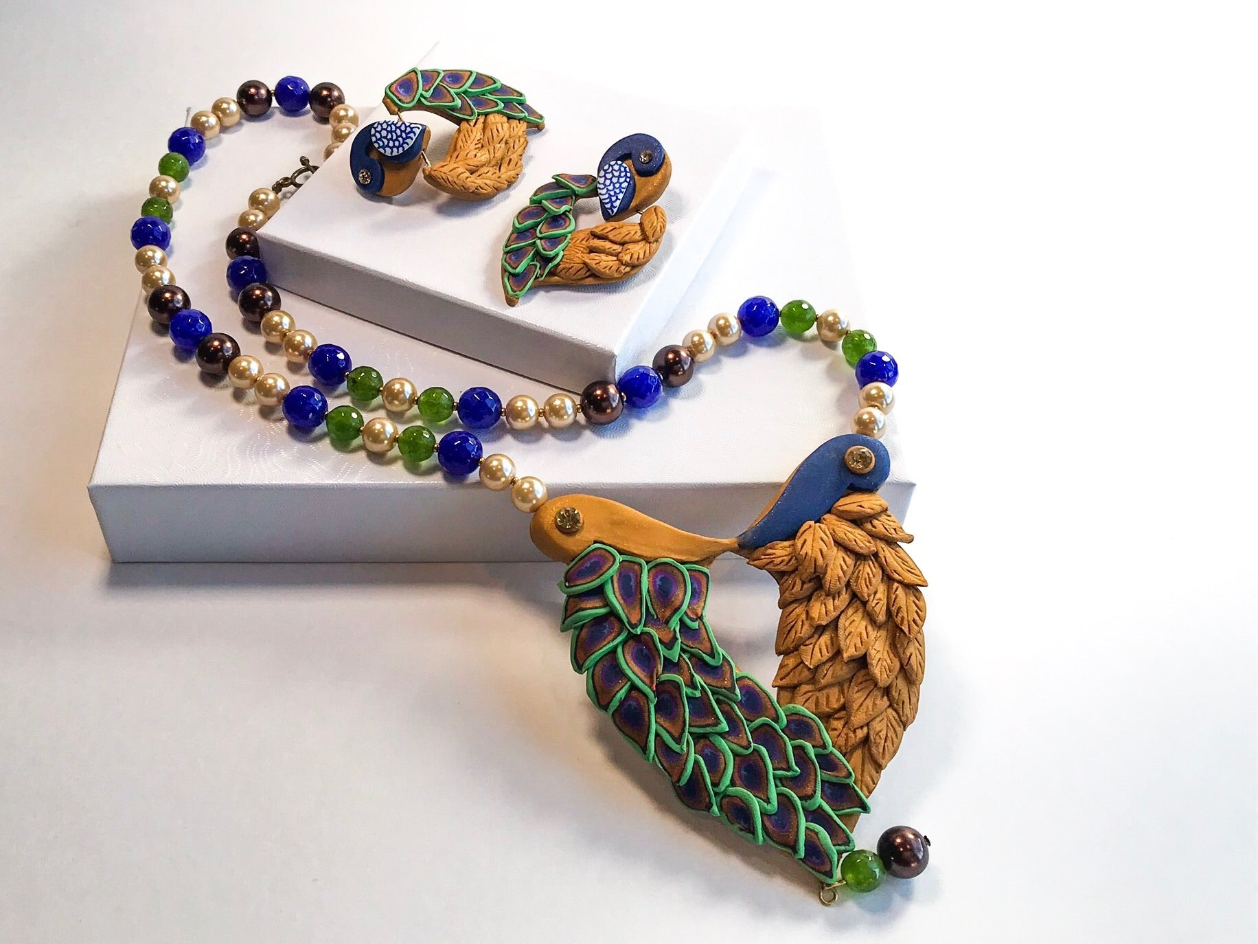 Peacock Feathers Jewelry set