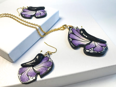 Purple Wings Jewelry set