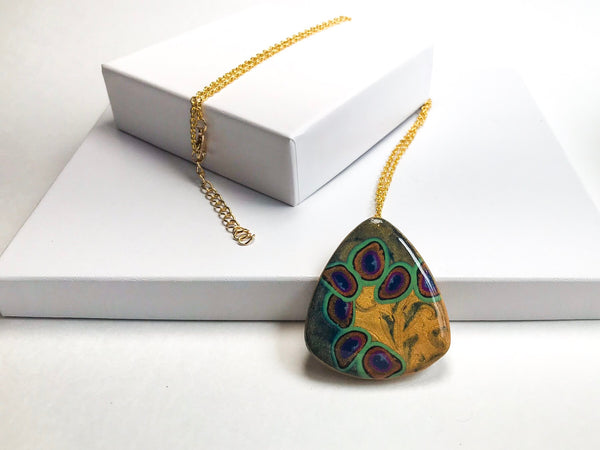 Peacock Swirl Pendant Necklace