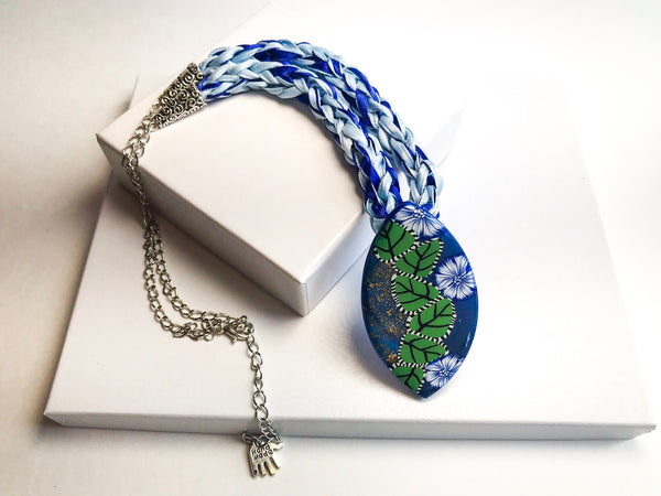 Blue flourish Pendant Necklace