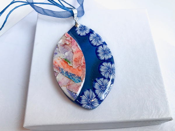 Watercolor Royal Blue Necklace