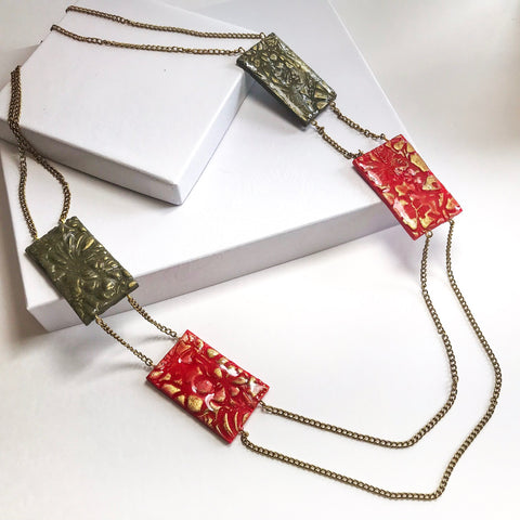 Red and Green Duo Necklace