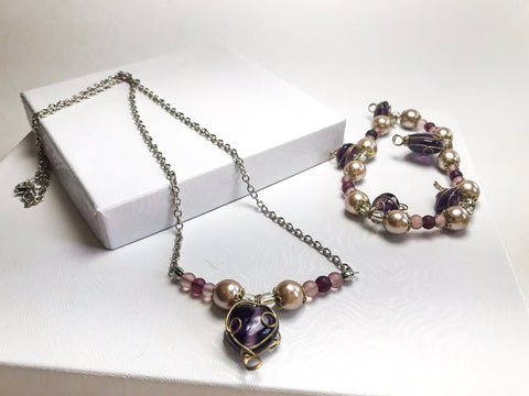 Purple Heart Jewelry set