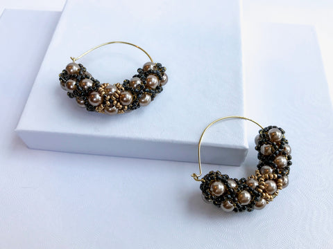 Elegant Bronze Beaded Earrings