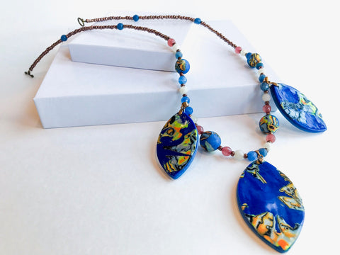 Oceanic Beaded Pendant Necklace