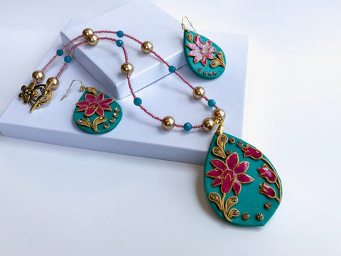 Teal Flower Statement Necklace Set