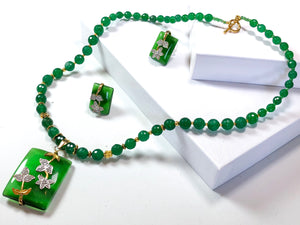 Flashes of Emerald Necklace Set