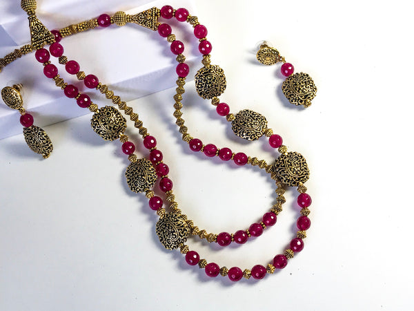 Two Strands of Red Necklace Set