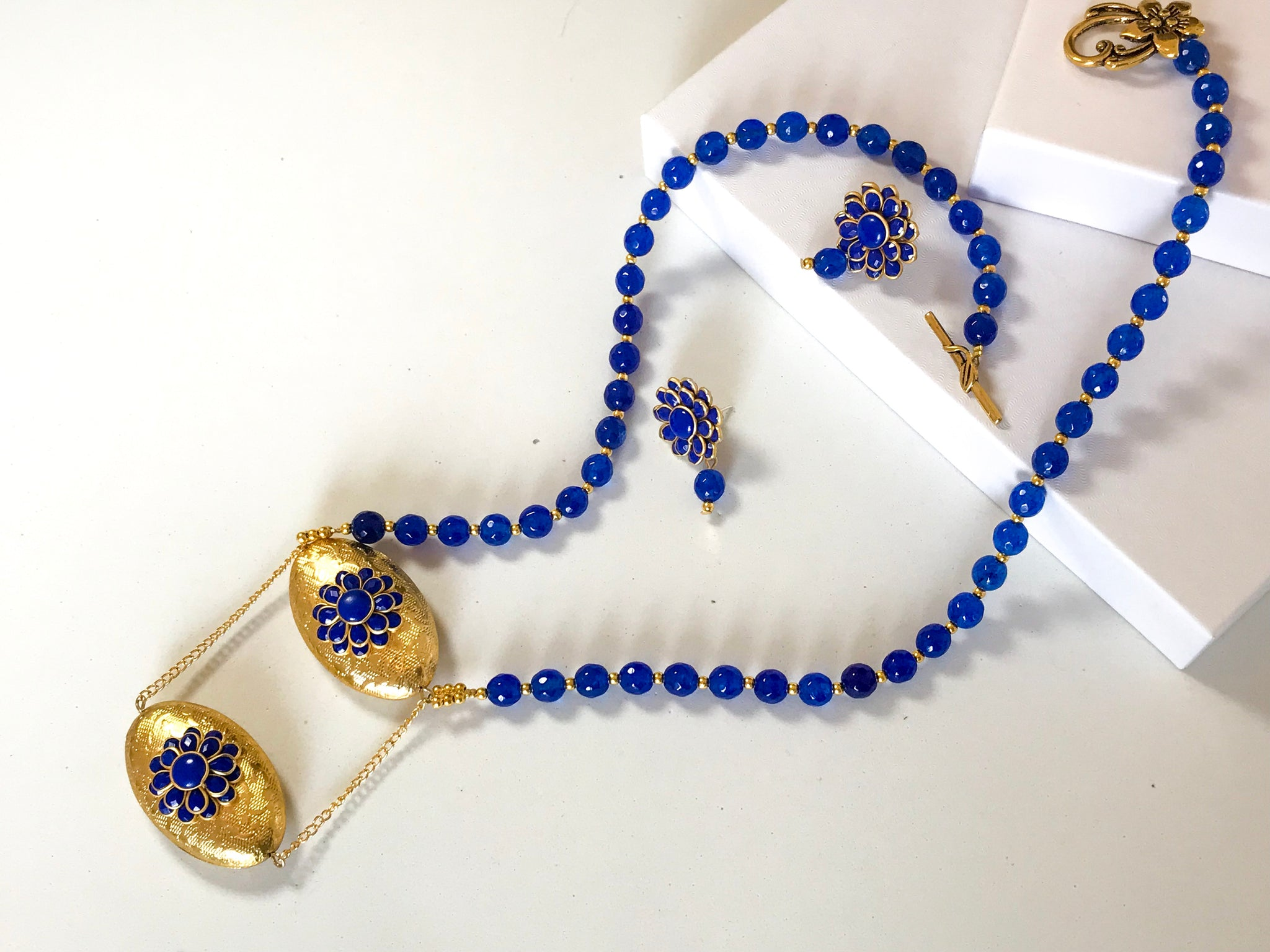 Royal Blue and Gold Pachhi Necklace Set