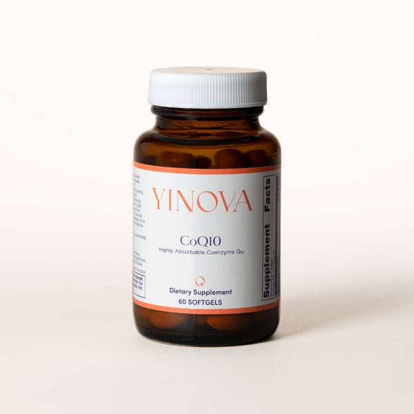 Clear brown bottle containing Yinova's blend of CoEnzyme Q10 tablets (CoQ10)