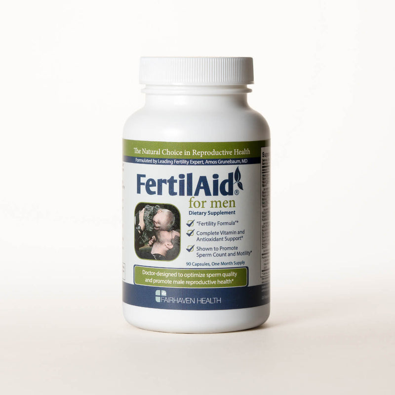 White bottle containing FertileAid tablets for Men's fertility