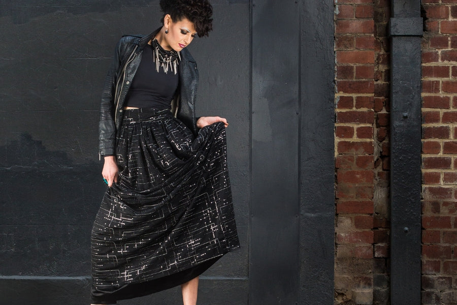 Silk + Sequin Maxi Skirt - Australian made