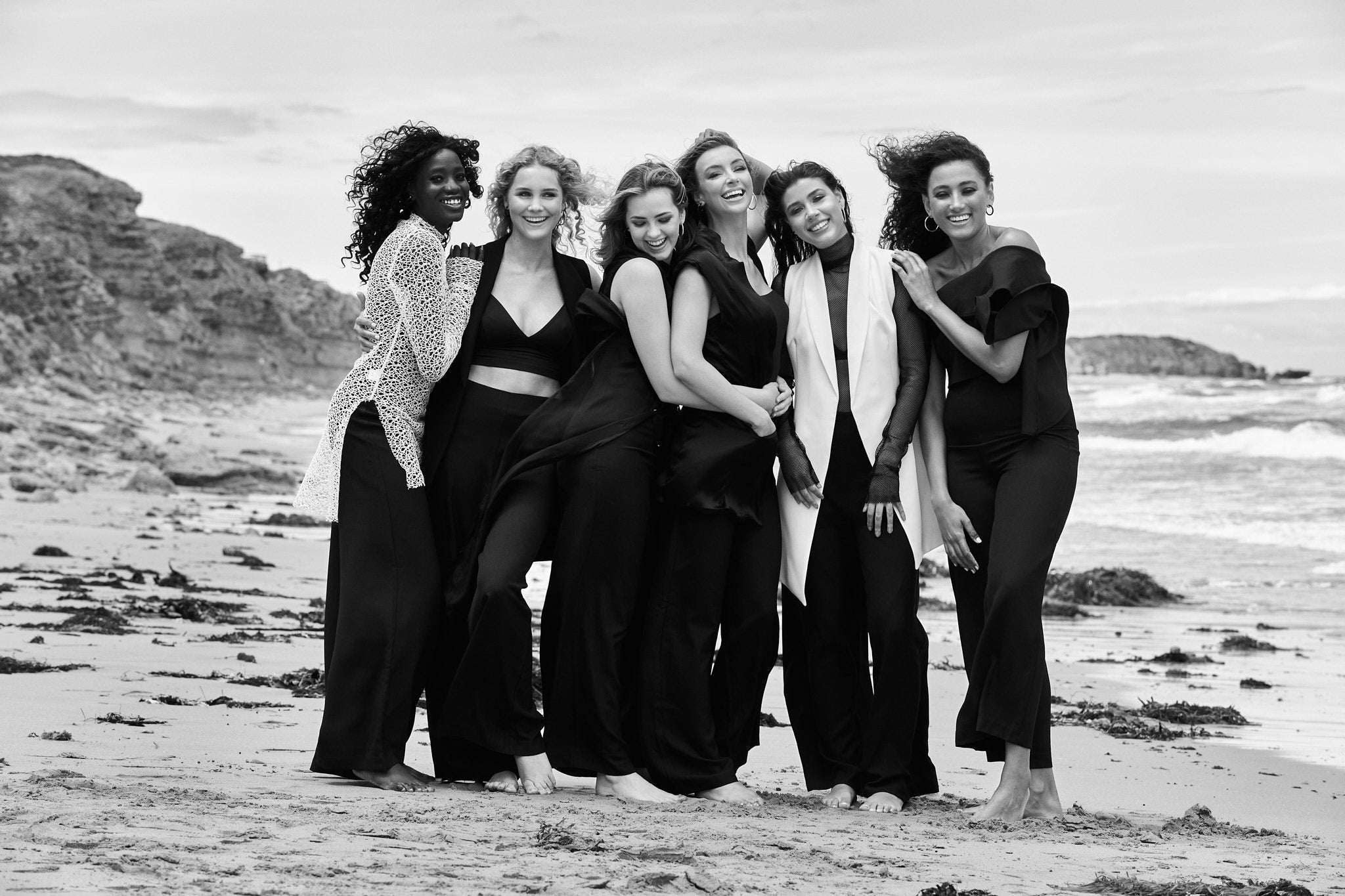 Black and White Models on Beach