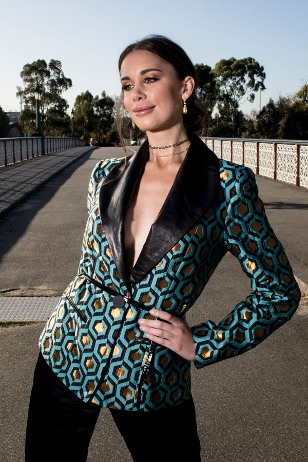 Model wears Blazer with Black Silk Pants