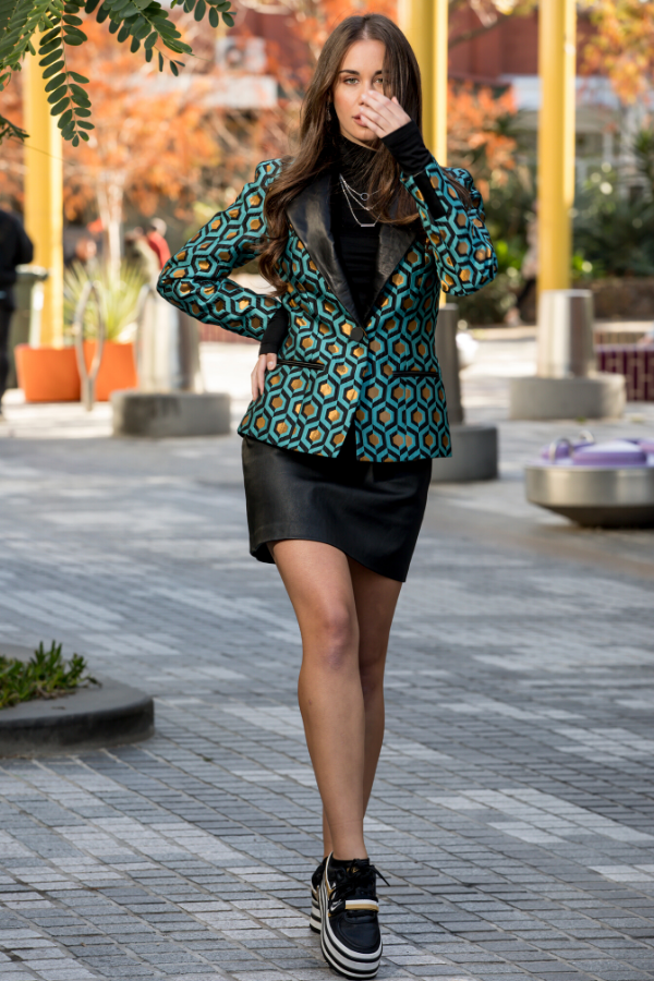 Blazer and Leather skirt with Nike Outfit