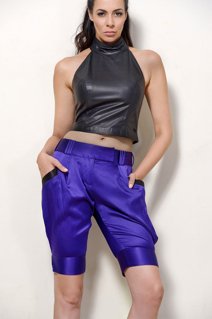 Purple Silk Shorts
