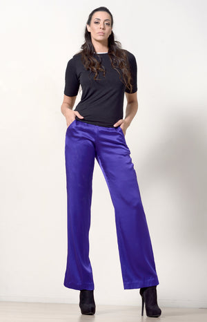 Wide Leg Pants, Purple Silk