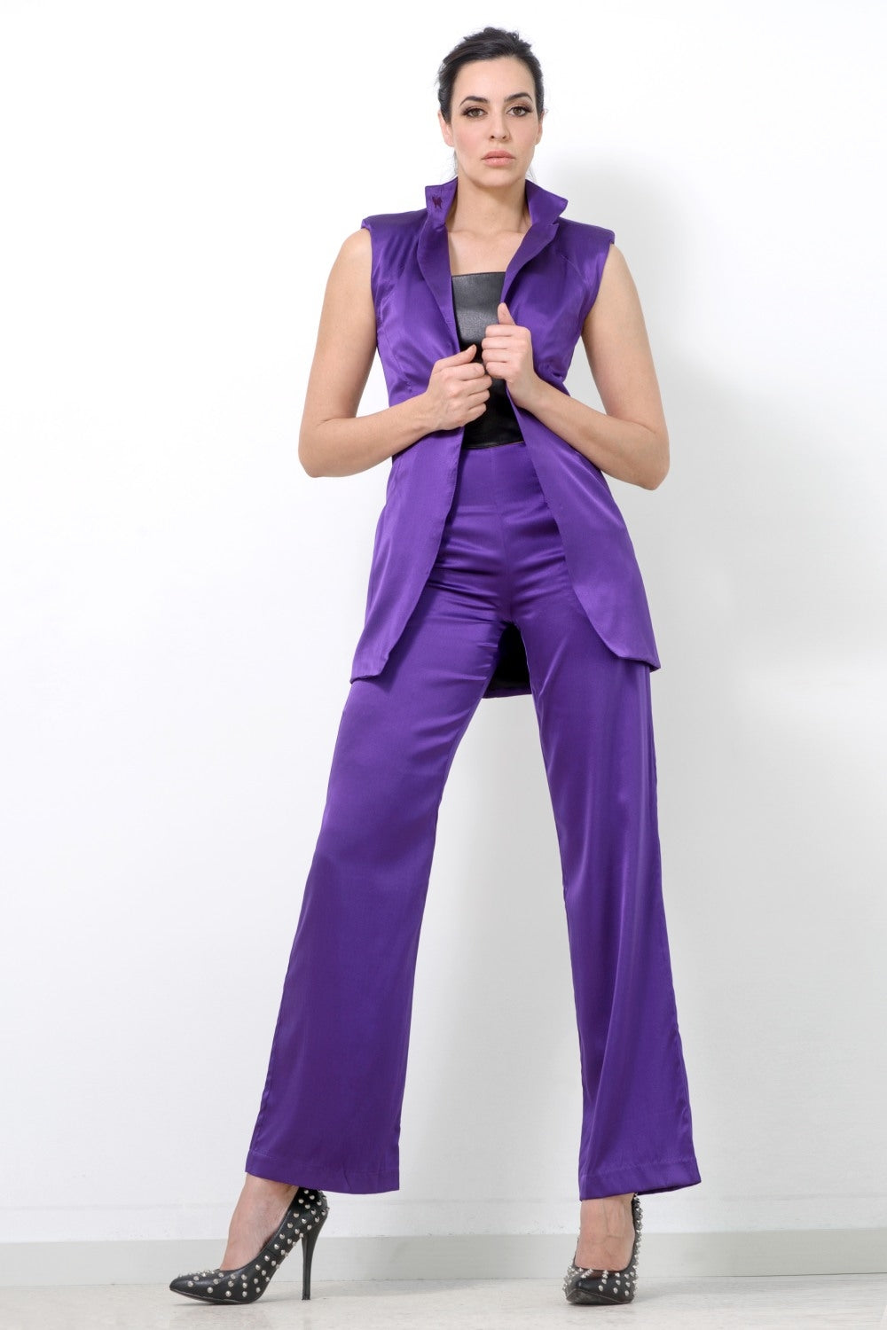 Purple Silk Sleeveless Jacket