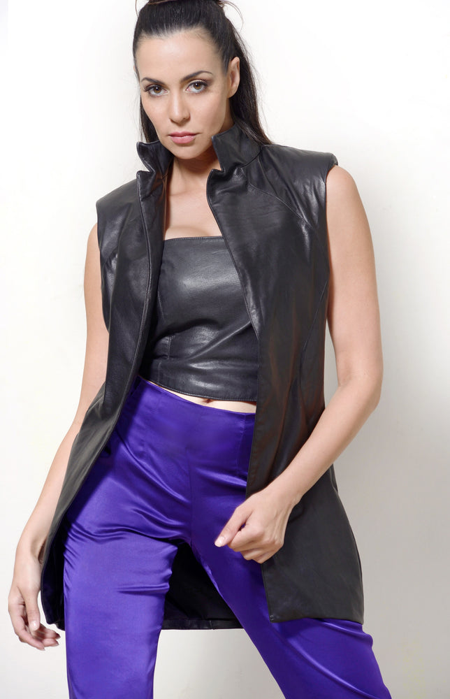 Jacket SleevelessJacket Leather Black