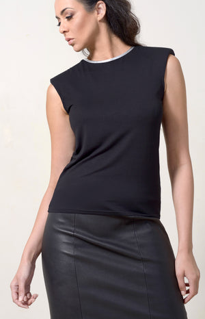 Black T-shirt Capped + Silver Leather Neckline