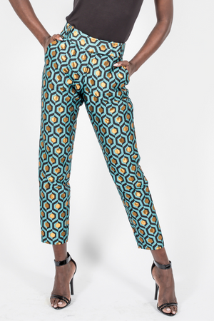 Blue and Gold Brocade Slim Leg Pants