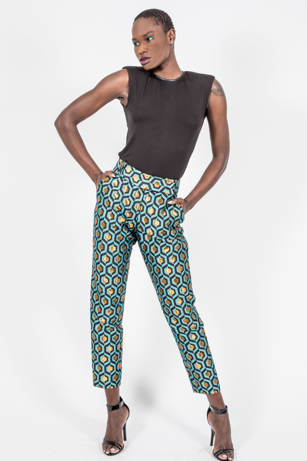 Slim Leg Pants, Brocade