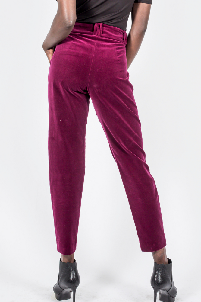 Velvet Pants Slim Leg - Burgundy
