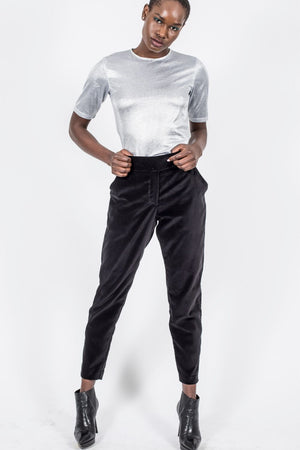Slim Leg Pants, Black Cotton Velvet