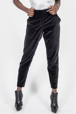Velvet Slim Leg Pants - Black
