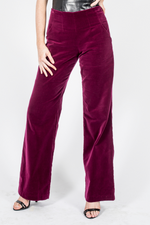 Velvet Wide Leg Pants - Burgundy