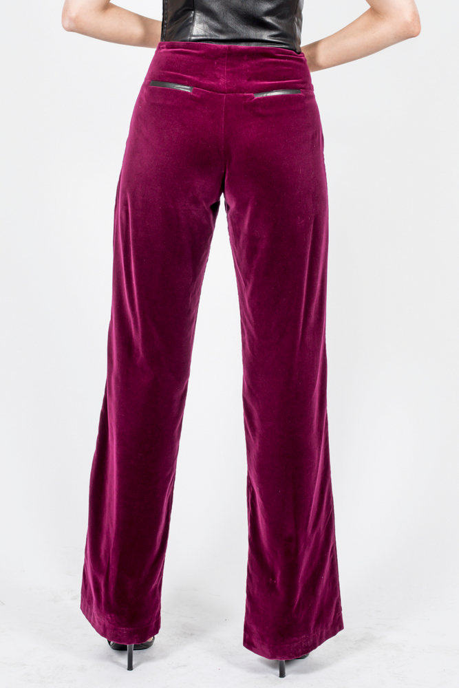 Velvet Pants Wide Leg Burgundy