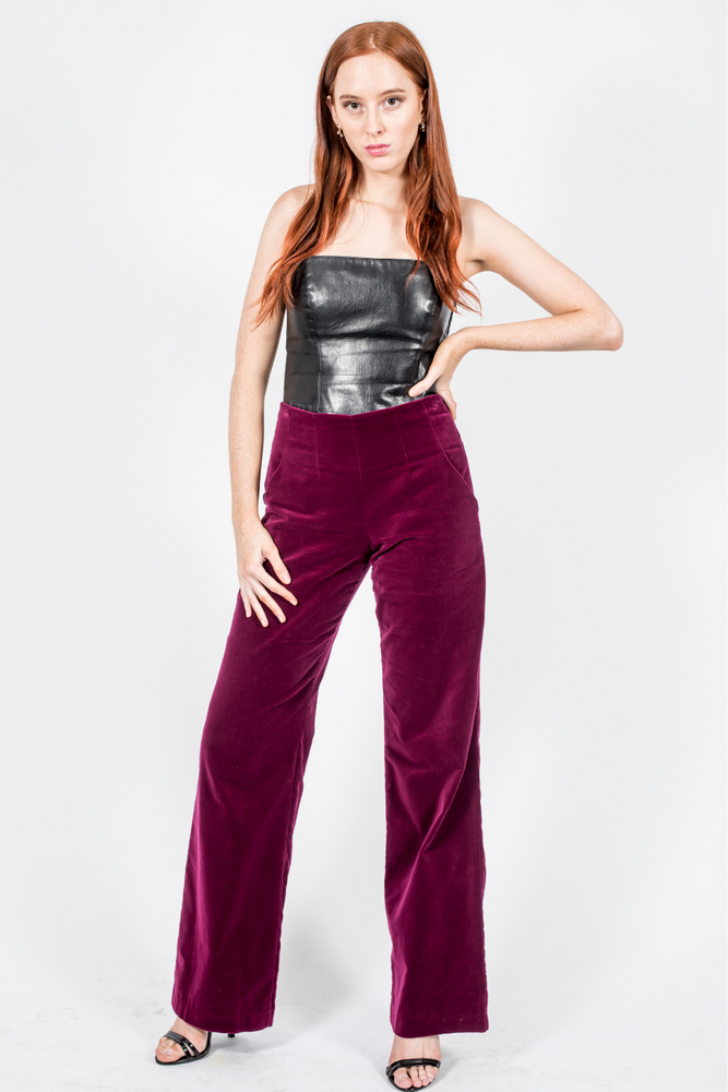 Wide Leg Pants, Burgundy Cotton Velvet