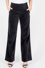 Velvet Wide Leg Pants - Black