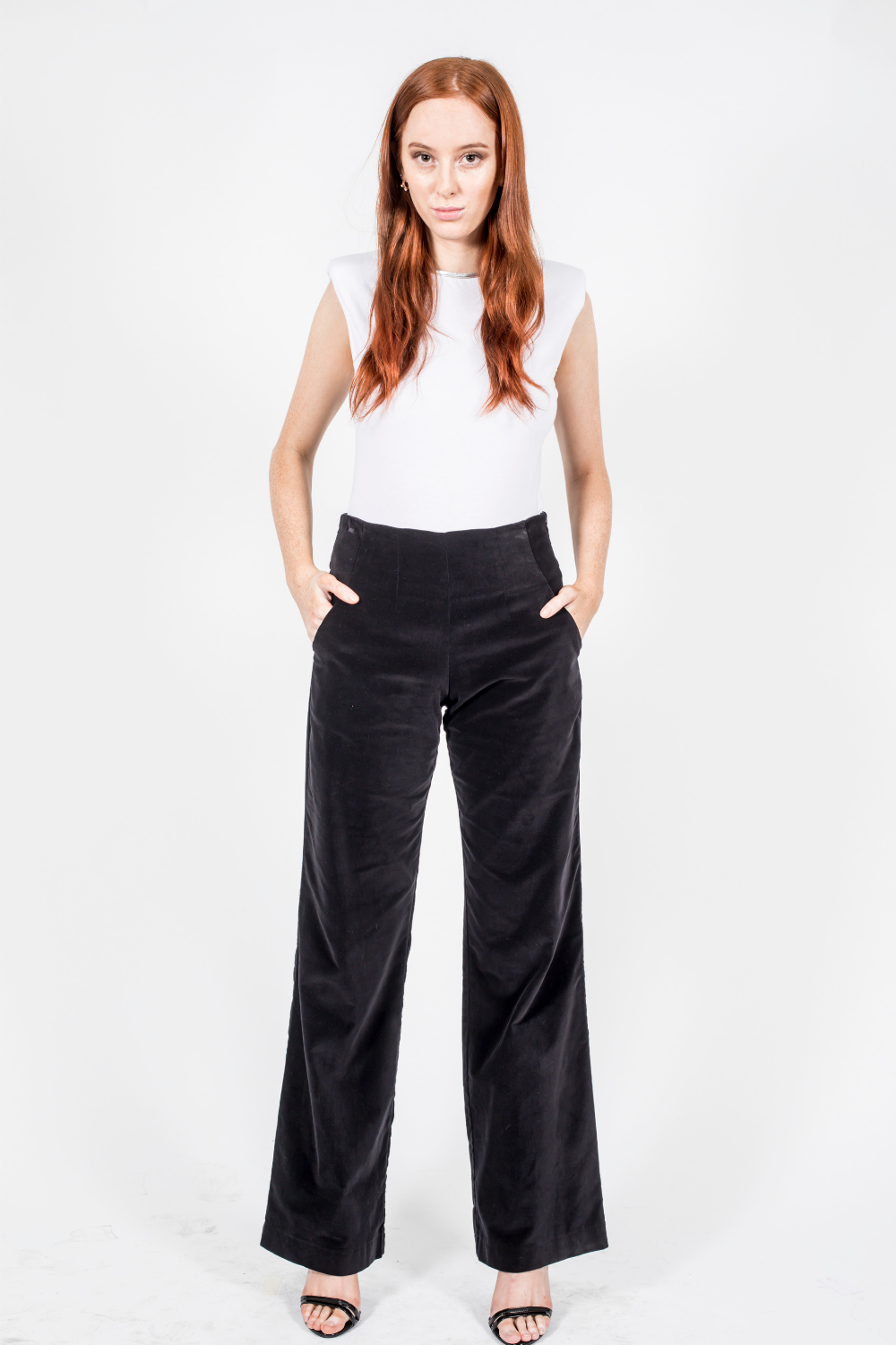 Wide Leg Pants, Black Cotton Velvet