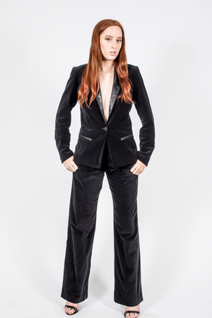 Velvet Blazer Powersuit Black