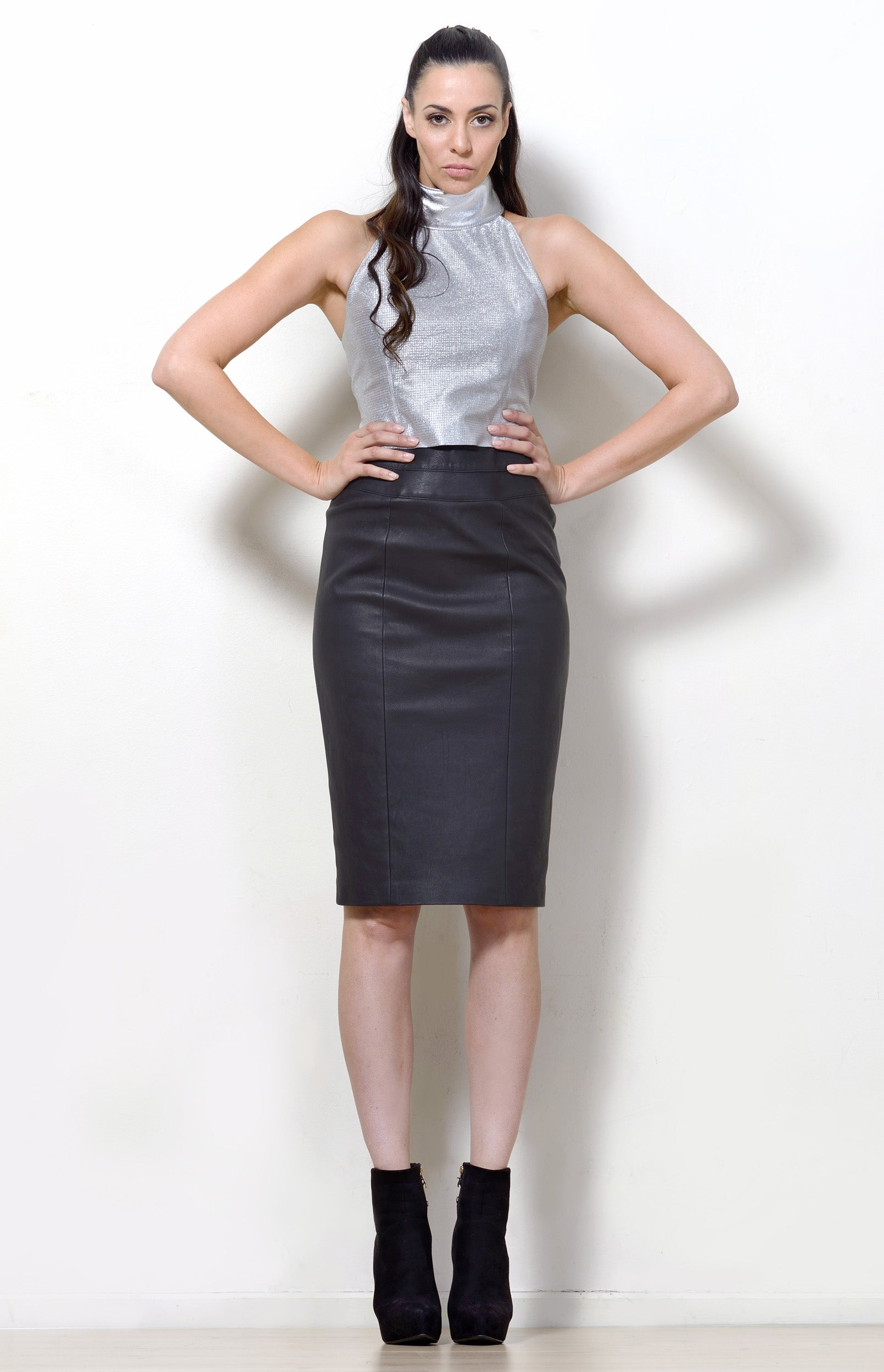 Black Leather Pencil Skirt